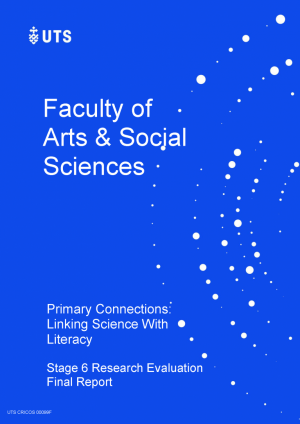 Image of the cover of the Primary Connections: linking science with literacy Stage 6 Research Evaluation (2018) report