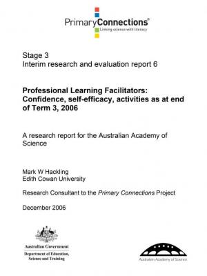 Professional Learning Facilitators: Confidence, self-efficacy, activities as at end of T3, 2006