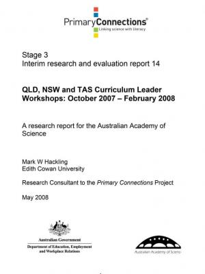 QLD, NSW and TAS Curriculum Leader workshops: October 2007 - February 2008